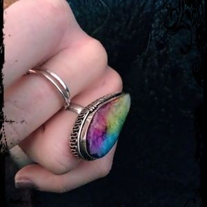 "Rainbow Agate Ring in Sterling Silver ""925"""